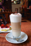 Latte Macchiato In Glass Cup On The Wooden Table Royalty Free Stock Image