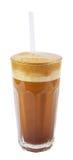 Latte macchiato mit Stroh Stockfotos