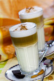 Latte Macchiato and Sweet Cookies ,Chocolate,Almon Royalty Free Stock Images
