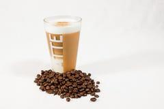 Latte macchiato 04. Latte macchiato on white background royalty free stock photo