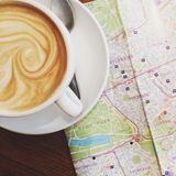 Latte with Map. Latte with swirled milk and Map of London Stock Images