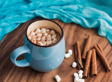 Latte with marshmallow and cinnamon Royalty Free Stock Photography