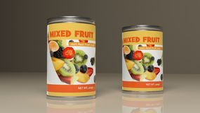Latte metalliche della frutta mista illustrazione 3D Fotografie Stock