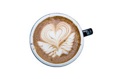 Latte mocha art coffee, isolated on white background Royalty Free Stock Images