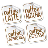 Latte, Mocha, Cappuccino and Espresso coffee Stock Photo