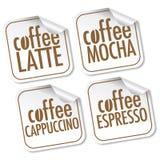 Latte, Mocha, Cappuccino's en Espresso Stock Foto