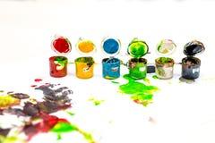Latte multicolori di pittura Fotografie Stock Libere da Diritti