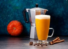 Latte ou Smoothies de potiron avec des épices photographie stock