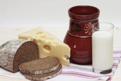 Latte, pane, formaggio Fotografia Stock Libera da Diritti