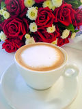 Latte and rose Royalty Free Stock Image