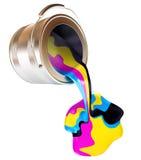 Latte rovesciate della pittura. Concetto di CMYK illustrazione di stock