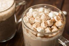 Latte salgado caseiro do chocolate com marshmallows Fotografia de Stock Royalty Free