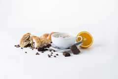 Latte. Still life with coffee and sweets stock images