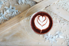 Latte sztuka na gorącej czekoladzie Obrazy Stock