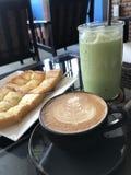 Latte sztuki gorąca kawa Obraz Royalty Free
