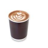 Latte sztuki kawa z kierową postacią dalej i urlopem Zdjęcia Stock