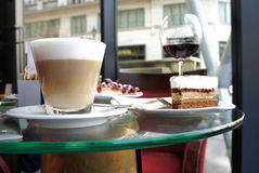 Latte and tiramisu in Parisian cafe Royalty Free Stock Photography