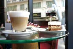 Latte and tiramisu in Parisian cafe Royalty Free Stock Photography