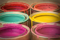 Latte variopinte di vernice Fotografia Stock