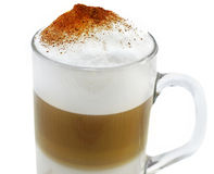 Latte with whipped foam in glass Stock Images