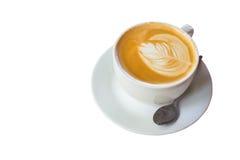 Lattekoffie op isolate wit Royalty-vrije Stock Afbeeldingen
