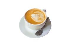 Lattekoffie op isolate wit Stock Afbeeldingen