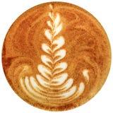 Lattekunstkaffee lokalisiert im weißen Hintergrund Lizenzfreie Stockbilder
