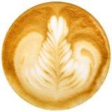 Lattekunstkaffee lokalisiert im weißen Hintergrund Stockbilder