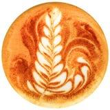 Lattekunstkaffee lokalisiert im weißen Hintergrund Lizenzfreie Stockfotografie