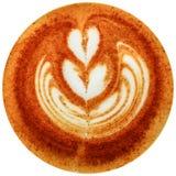 Lattekunstkaffee lokalisiert im weißen Hintergrund Lizenzfreies Stockfoto