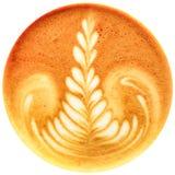 Lattekunstkaffee lokalisiert im weißen Hintergrund Stockfotografie