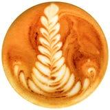 Lattekunstkaffee lokalisiert im weißen Hintergrund Lizenzfreies Stockbild