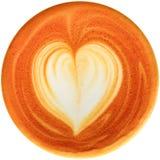 Lattekunstkaffee lokalisiert im weißen Hintergrund Stockfoto