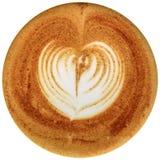 Lattekunstkaffee lokalisiert im weißen Hintergrund Stockbild