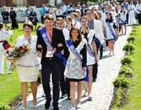 Latter school bell. CHORTKIV - Ternopil - Ukraine - May 27, 2016 Holiday PAST school bell in Chortkiv Gymnasium name Shashkevych Royalty Free Stock Images