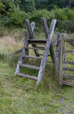 Latter Stile, style, steps up and over fence. Ladder over fence. Snowdonia National Park, Gwynedd, Wales, United Kingdom Royalty Free Stock Photo