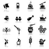 Latteria e prodotti naturali impostati icone Immagini Stock Libere da Diritti