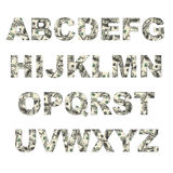 Latters of alphabet made of dollars. On white background Royalty Free Stock Images