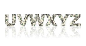 Latters of alphabet made of dollars. On white background Stock Photography