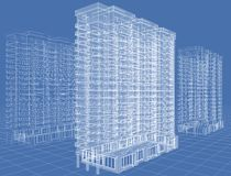 Lattice. Abstract architectural 3D drawing of many-storeyed building on blue Royalty Free Stock Photography