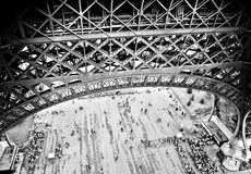 Lattice Below. Lattice structure on lower level of Eiffel Tower, Paris Royalty Free Stock Photo