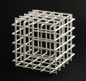 Lattice cube on a black background Royalty Free Stock Photography