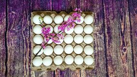 A lattice of eggs of thirty pieces royalty free stock photography