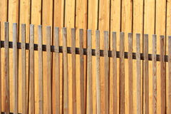 Lattice fence. In front of a wall made of fresh wood planks Royalty Free Stock Photos