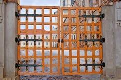 Lattice gate. Old wodden closed lattice gate stock photo