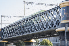 Lattice Girder Railway Bridge with Train; River Liffey; Dublin Royalty Free Stock Photography