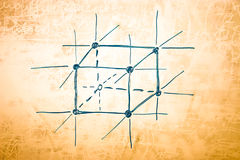 Lattice of metal in atomic physics. Sketch on blackboard Stock Photography
