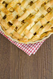 Lattice pastry apple pie top, cooked with copy space Royalty Free Stock Photography