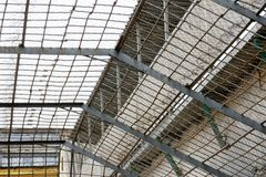Lattice in the prison. Lattice above the prisoners walking area in the prison royalty free stock images