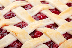 Lattice Top Cherry Pie Macro Stock Photography